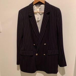 Navy & White H&M Striped Double Breasted Blazer